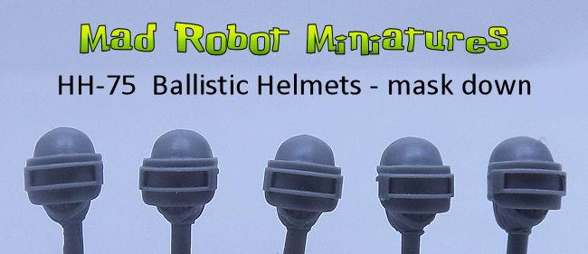Ballistic Helmet Heads - mask down